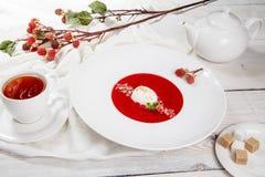 Sopa da morango com gelado e hortelã imagens de stock