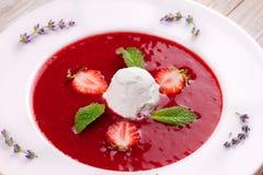 Sopa da morango com gelado e hortelã fotos de stock royalty free