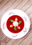 Sopa da morango com gelado e hortelã fotografia de stock