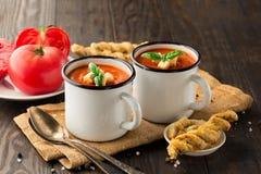Sopa da pimenta vermelha do tomate Fotos de Stock Royalty Free