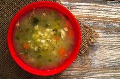 Sopa da salmoura Sopa saudável opinião superior da sopa Fotos de Stock