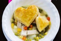Sopa da torta de potenciômetro da galinha Imagens de Stock