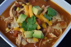 Sopa da tortilha da galinha Fotografia de Stock