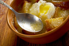 Sopa de ajo. Castilian garlic soup.farm-style Royalty Free Stock Photo