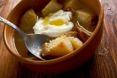 Sopa de ajo. Castilian garlic soup.farm-style Royalty Free Stock Photography