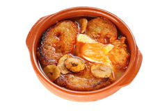 Sopa de ajo , castilian garlic soup , spanish food Royalty Free Stock Photo
