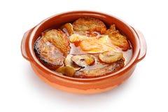 Sopa de ajo, sopa castelhana do alho, alimento espanhol Imagem de Stock
