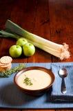 Sopa de Apple e de alho-porro Imagem de Stock