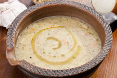 Sopa de batata com vegetal Fotografia de Stock Royalty Free