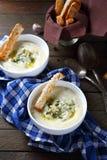 Sopa de batata triturada com queijo Fotos de Stock Royalty Free