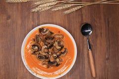 Sopa de champiñones de la calabaza Imagenes de archivo