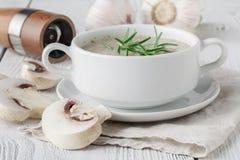 Sopa de champiñones triturada fresca con los cuscurrones y la pimienta del pan en fondo de madera Fotos de archivo libres de regalías