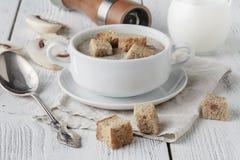Sopa de champiñones triturada fresca con los cuscurrones y la pimienta del pan en fondo de madera Fotos de archivo