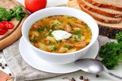 Sopa de cogumelo com vegetais e pão Fotografia de Stock