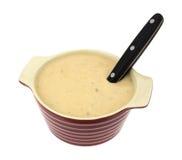 Sopa de cogumelo em uma bacia com colher Imagem de Stock Royalty Free