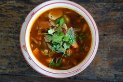 Sopa de cogumelo picante alimento do vegetariano no restaurante fotos de stock royalty free