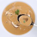 Sopa de cogumelo saudável comer com os cogumelos na colher de cima de Imagens de Stock