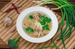 Sopa de cogumelos com verdes, alho e queijo parmesão Estilo rústico Fundo rústico de madeira Vista superior imagens de stock