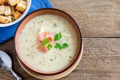 Sopa de creme com camarões Imagem de Stock