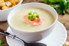 Sopa de creme com camarões Fotografia de Stock Royalty Free