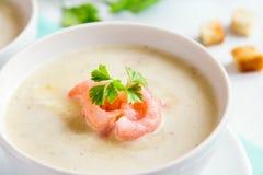 Sopa de creme com camarões Imagens de Stock Royalty Free