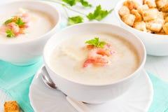 Sopa de creme com camarões Imagens de Stock