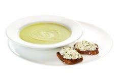 Sopa de creme com espinafre Fotografia de Stock