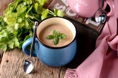 Sopa de creme da galinha com queijo na caneca Fotografia de Stock