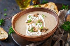 Sopa de creme do cogumelo Alimento do vegetariano Menu dietético Fotos de Stock