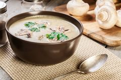 Sopa de creme do cogumelo com ervas e especiarias imagem de stock royalty free