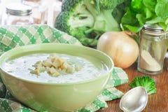 A sopa de creme dos brócolis na bacia verde serviu com pão torrado foto de stock