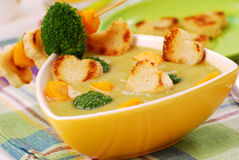 Sopa de creme dos bróculos Fotografia de Stock Royalty Free