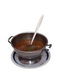 Sopa de creme em uma bacia no fundo branco Fotografia de Stock