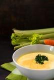 A sopa de creme vegetal com aipo e a salsa decoram, woode escuro Fotos de Stock