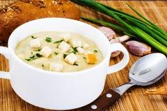 Sopa de creme vegetal com pão torrado Fotos de Stock