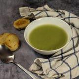 Sopa de creme verde do aipo com pão torrado, quadrado do instagram Fotografia de Stock