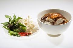 Sopa de fideos con el pato asado chino Fotos de archivo libres de regalías