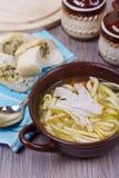 Sopa de fideos del pollo Fotografía de archivo