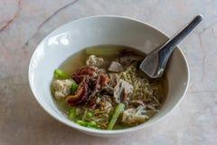 Sopa de fideos del wonton del pato de carne asada Fotografía de archivo libre de regalías