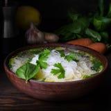 Sopa de fideos tailandesa del pollo, aún vida cambiante oscura Foto de archivo libre de regalías