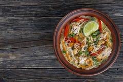 Sopa de fideos tailandesa del pollo en cuenco de la arcilla imagen de archivo