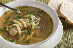 Sopa de galinha caseiro Imagem de Stock