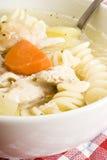 Sopa de galinha caseiro com massa Fotografia de Stock