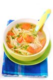 Sopa de galinha com os macarronetes para a criança Fotografia de Stock Royalty Free