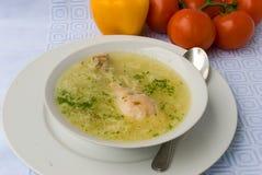 Sopa de galinha com pé de galinha fotografia de stock