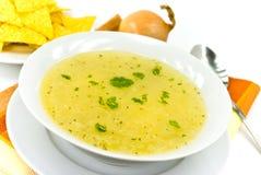 Sopa de galinha saboroso com macarronetes fotografia de stock royalty free