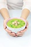 Sopa de guisantes cremosa Foto de archivo libre de regalías