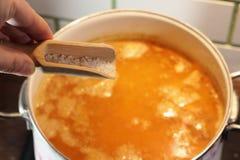 Sopa de guisantes del cocinero Imagen de archivo