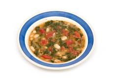 Sopa de habas vegetariana de la col rizada Foto de archivo libre de regalías