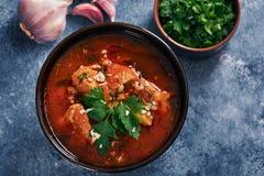 Sopa de Kharcho - plato georgiano nacional de la cocina con carne de vaca, arroz, ajo y tkemali Comida cauc?sica aut?ntica tradic imagenes de archivo